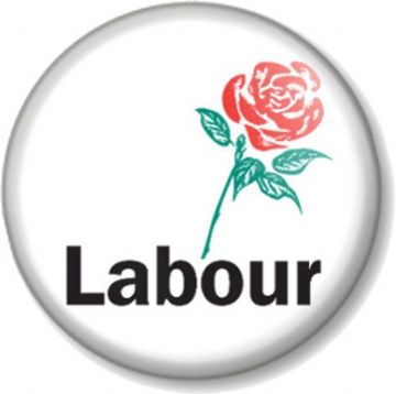 Labour Party Pinback Button Badge General Election Political Vote Rose Red